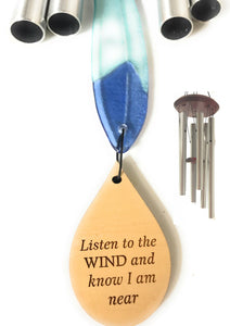 """Stained Glass Feather""  Memorial Wind Chimes in Silver by Weathered Raindrop"