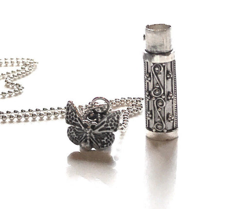 Butterfly Sterling Jewelry Urn Ashes Necklace CREMATION Sterling Silver Dragonfly URN Pendant custom cremation personalized urn Memorial