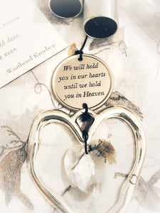 """Holding You In Our Hearts"" Outdoor Memorial Heart Prism 28 inch Silver by Weathered Raindrop"