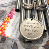 Memorial Dragonfly Wind Chime Deep Tone Custom Gift After Loss Of Mom Dad or Loved One In Memory of loved one