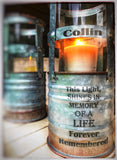 Industrial Memorial DIRECT SHIPPING Light In Memory For Wedding Anniversary of Loss Indoor or outdoor remembering a loved one sympathy and F