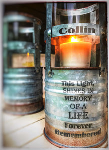 Industrial Memorial Light In Memory For Wedding Anniversary of Loss Indoor or outdoor remembering a loved one sympathy and F