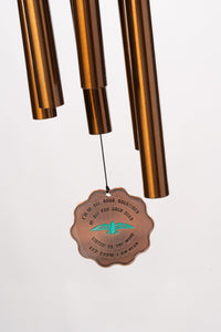 """God's Creations"" Copper Blue Bird 28"" Memorial Wind Chime by Weathered Raindrop"