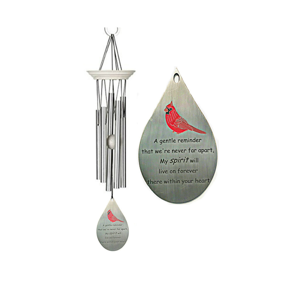 Cardinal Memorial Wind Chime White Wash Custom Gift After Loss Of Mom Dad or Loved One In Memory of loved one