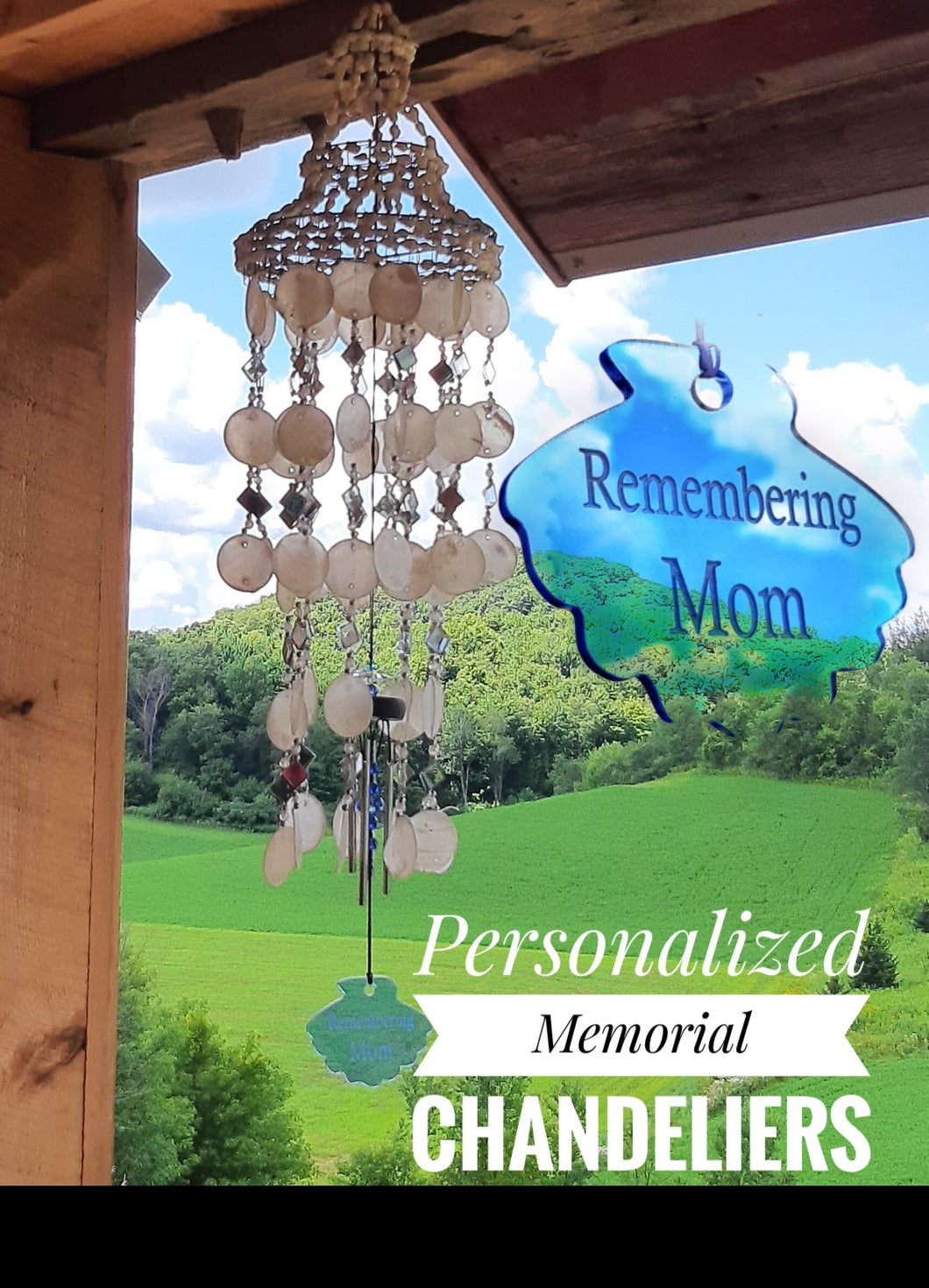 Memorial Sea Shell Chandelier 27 inch Wind Chime Sympathy Gift After Loss In Memory by Weathered Raindrop