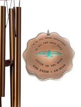 """In All of God's Creation"" 17 inch Copper Blue Bird Sympathy Wind Chime by Weathered Raindrop"