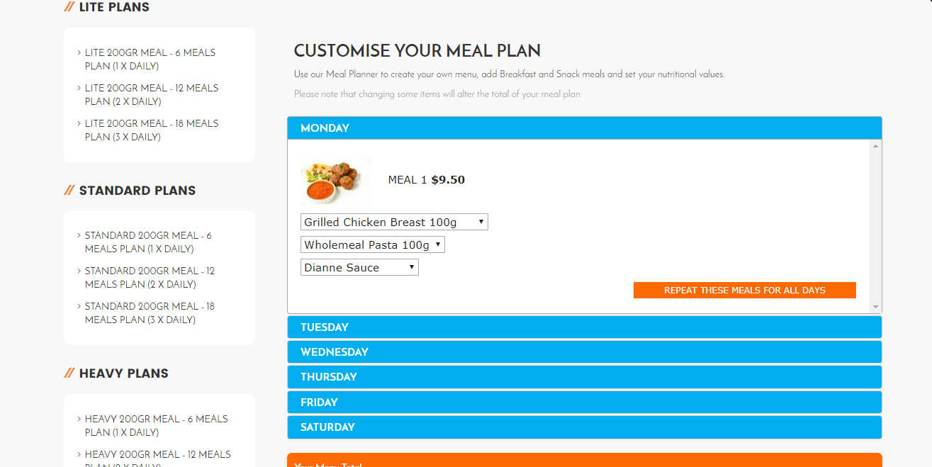 shopify custom weekly meal plan app shopify experts