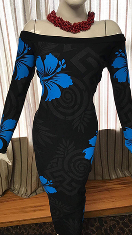Leilani Dress- Metalic Black & Blue Print
