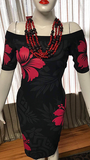 Leilani Dress- Metalic Black & Red Print