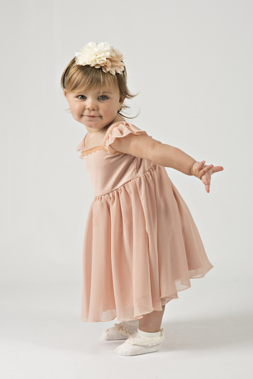 f04243e87d Flower Girl Dress Coral for Baby or Toddler in Chiffon with Cap Sleeves -  The