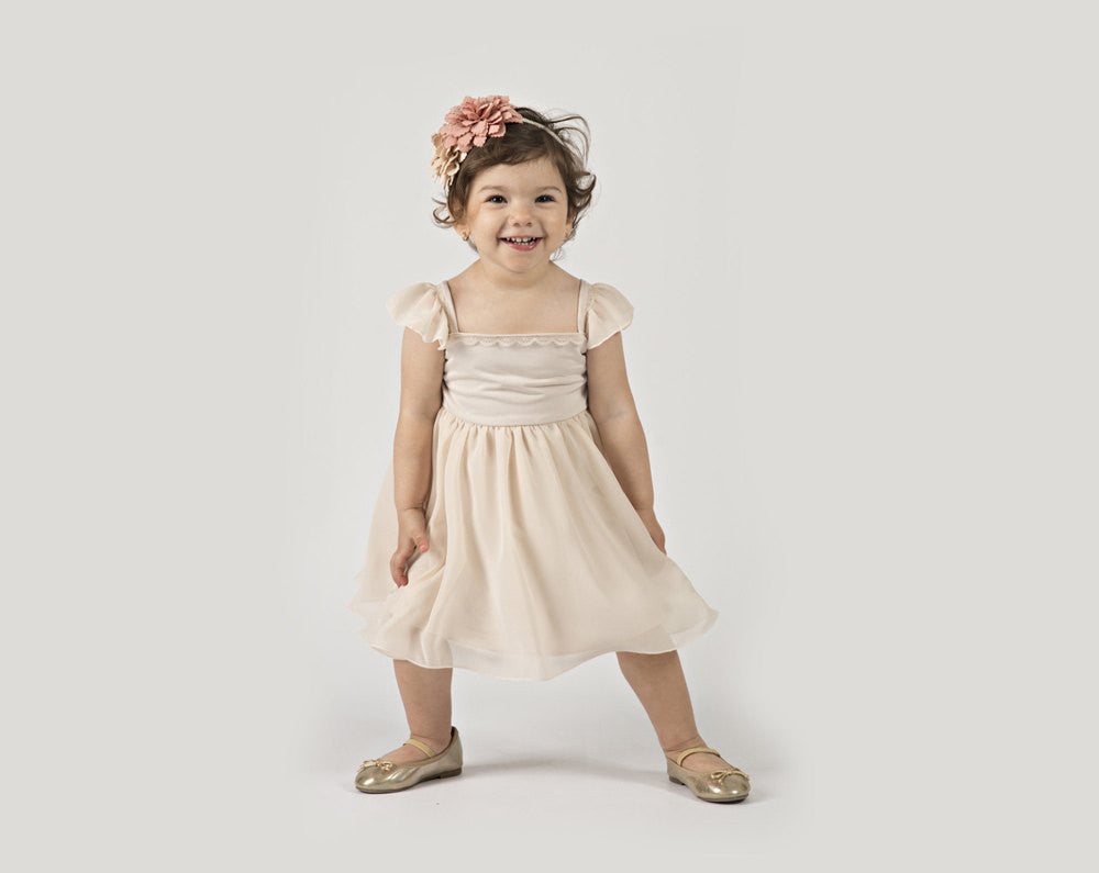 Ivory Flower Girl Dress For Baby Or Toddler In Chiffon With Cap