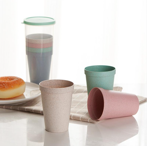Stackable Re-usable Wheat Plastic Drinking Cups, Set of 4 Cups