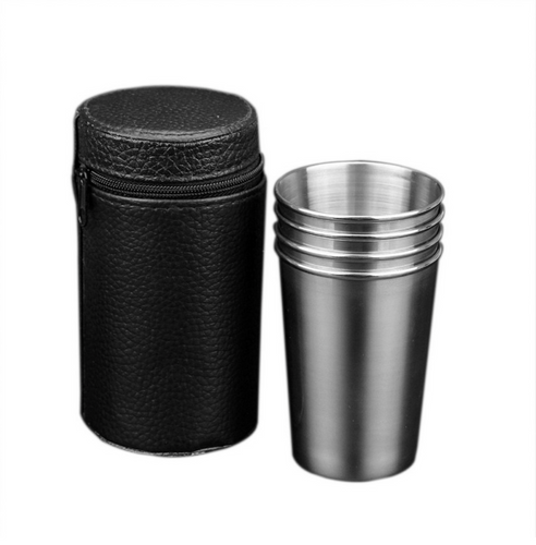 Stackable Stainless Steel Drinking Cups, Set of 4 Cups