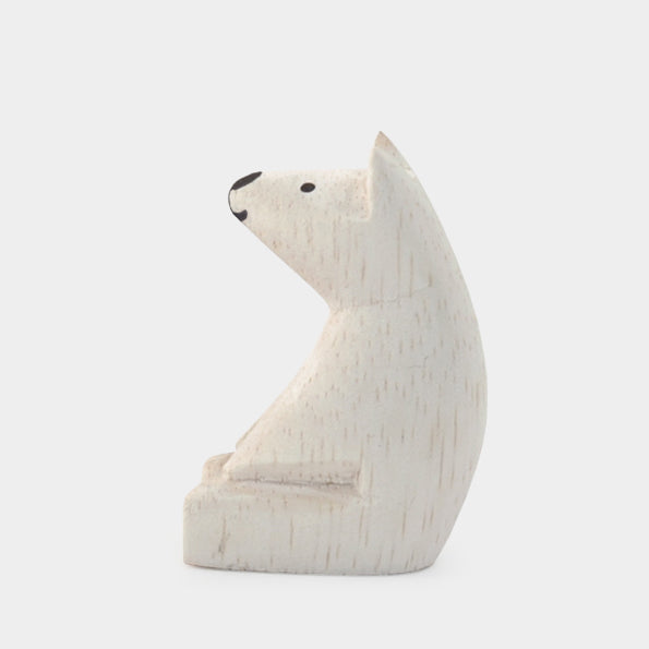 Little Wooden Sitting Polar Bear