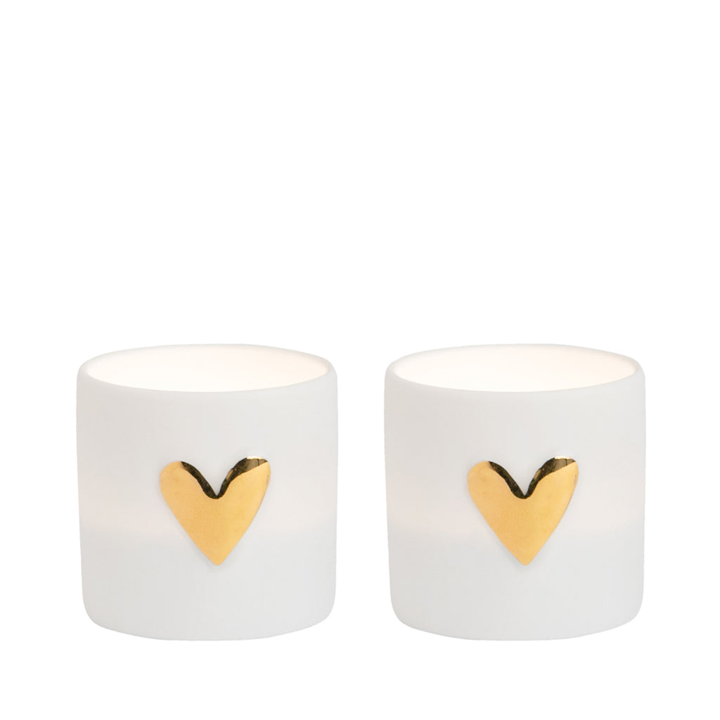 Räder 2 x Tealight - Gold Heart