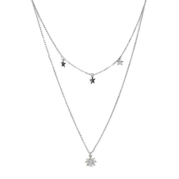Sienna Stars Multi Layered Necklace - Silver