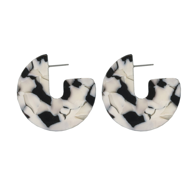 Cosette Half Moon Resin Earrings - Black/White