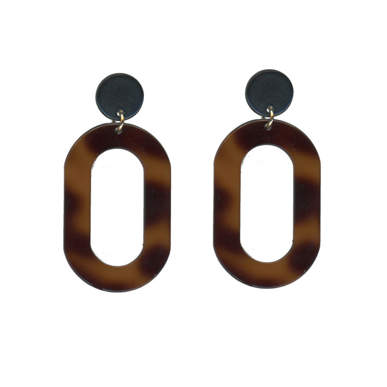 Catarina Round Loop Drop Resin Earrings - Tortoise