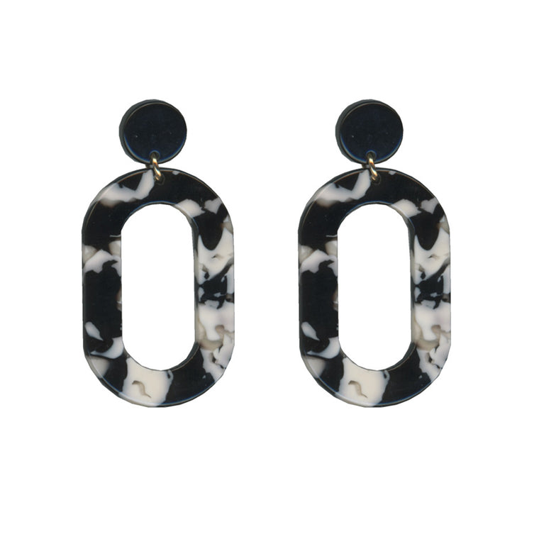 Catarina Round Loop Drop Resin Earrings - Black & White