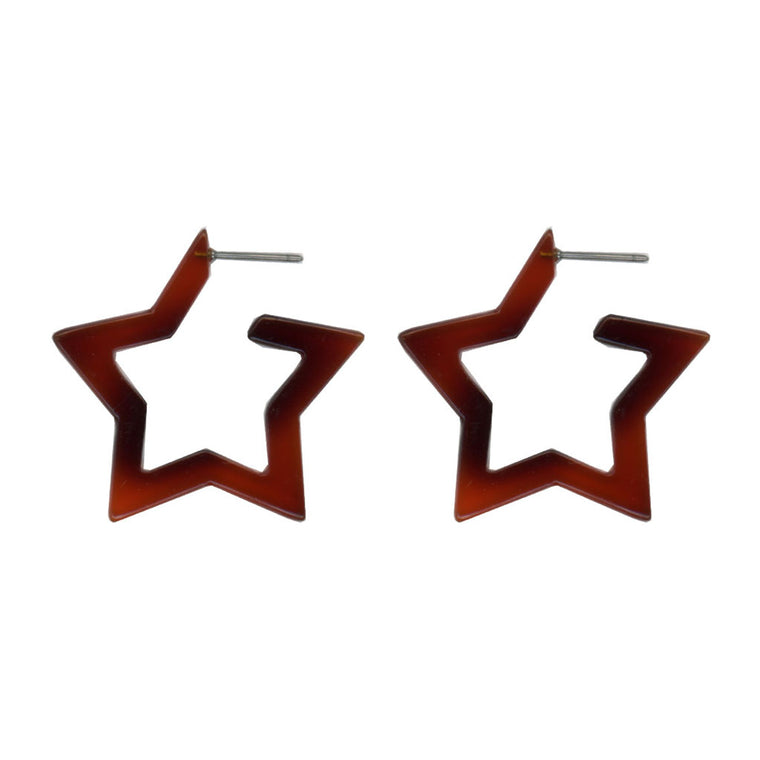 Megan Star Earrings - Tortoise