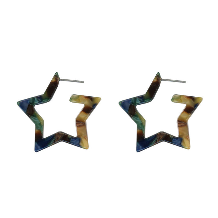 Megan Star Earrings - Blue/Multi