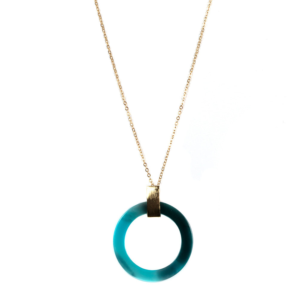 Alice Faux Horn Long Pendant Necklace Blue