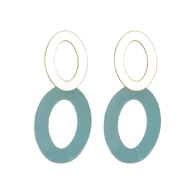 Mila Elongated Shape Earrings - Gold/Blue