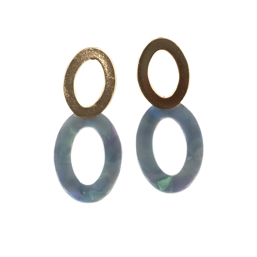 Big Metal LDN - Mila Elongated Shape Earrings Gold/Grey