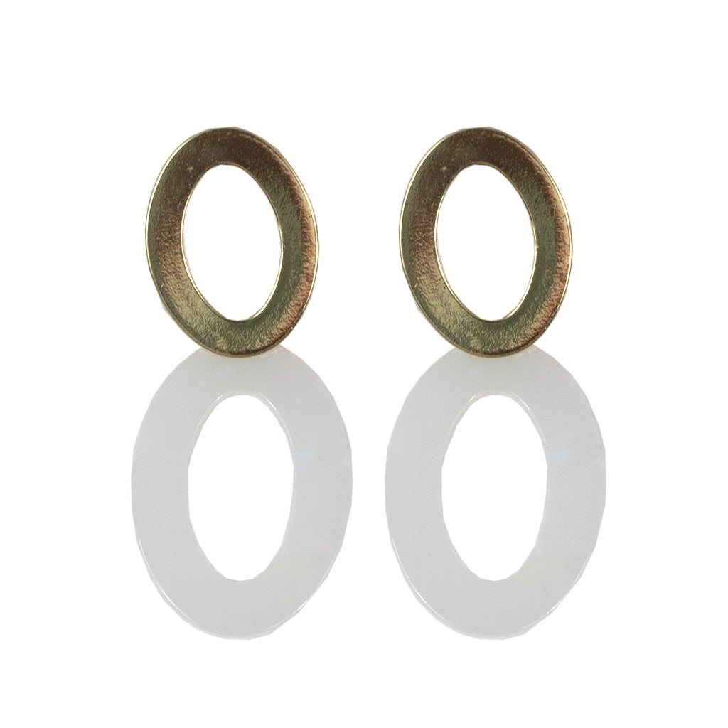 Mila Elongated Shape Earrings - Gold/White