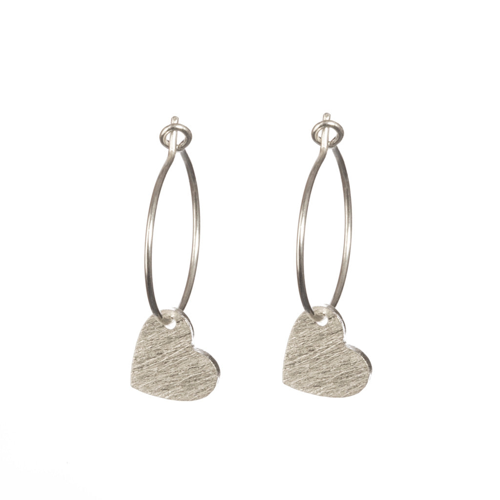 Silver Brushed Heart Hoop Earrings