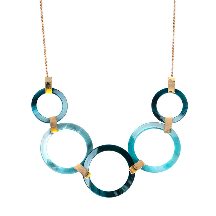 Alice Faux Horn Necklace - Blue