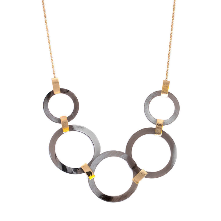 Alice Faux Horn Necklace - Grey