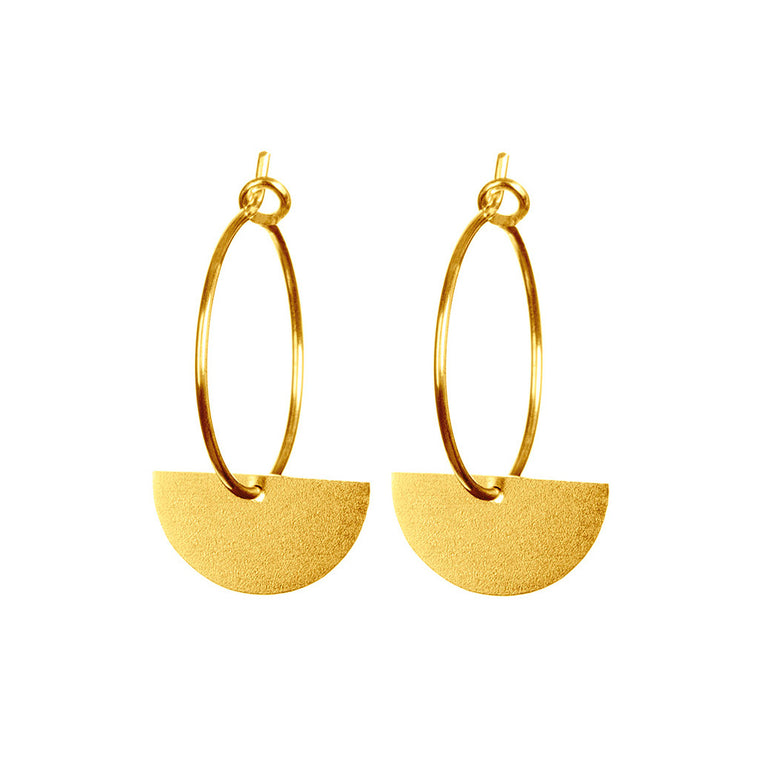 Gold Semi Circle Charm Earrings