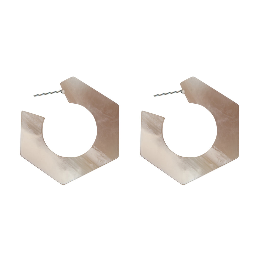 Brigitte Brass Stone Effect Hexagon Earrings - Beige