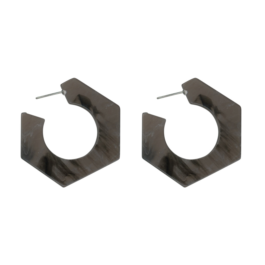 Brigitte Brass Stone Effect Hexagon Earrings - Grey