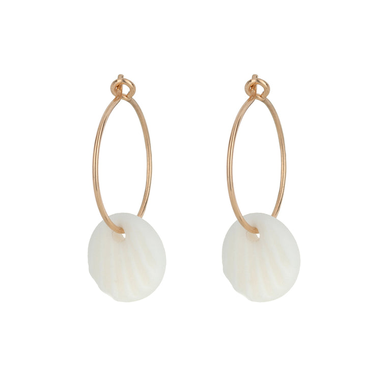 One & Eight White Scallop Hoop Earrings