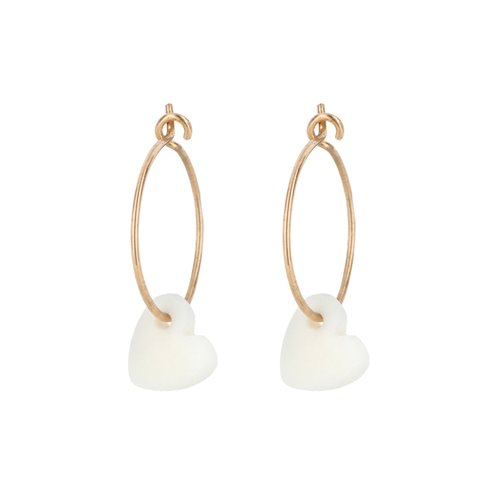 One & Eight White Heart Hoop Earrings