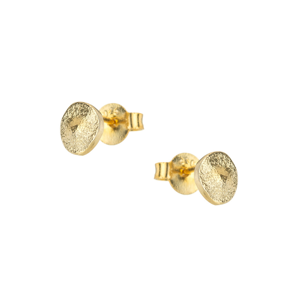 Gold Pebble Stud Earrings