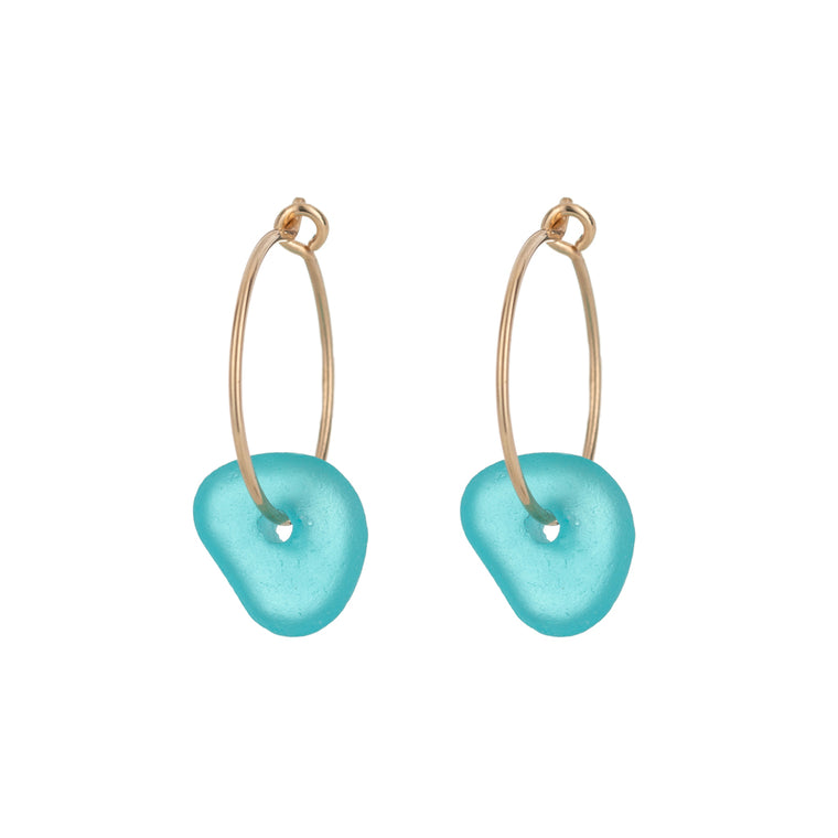One & Eight Aqua Sea Glass Gold Hoop Earrings