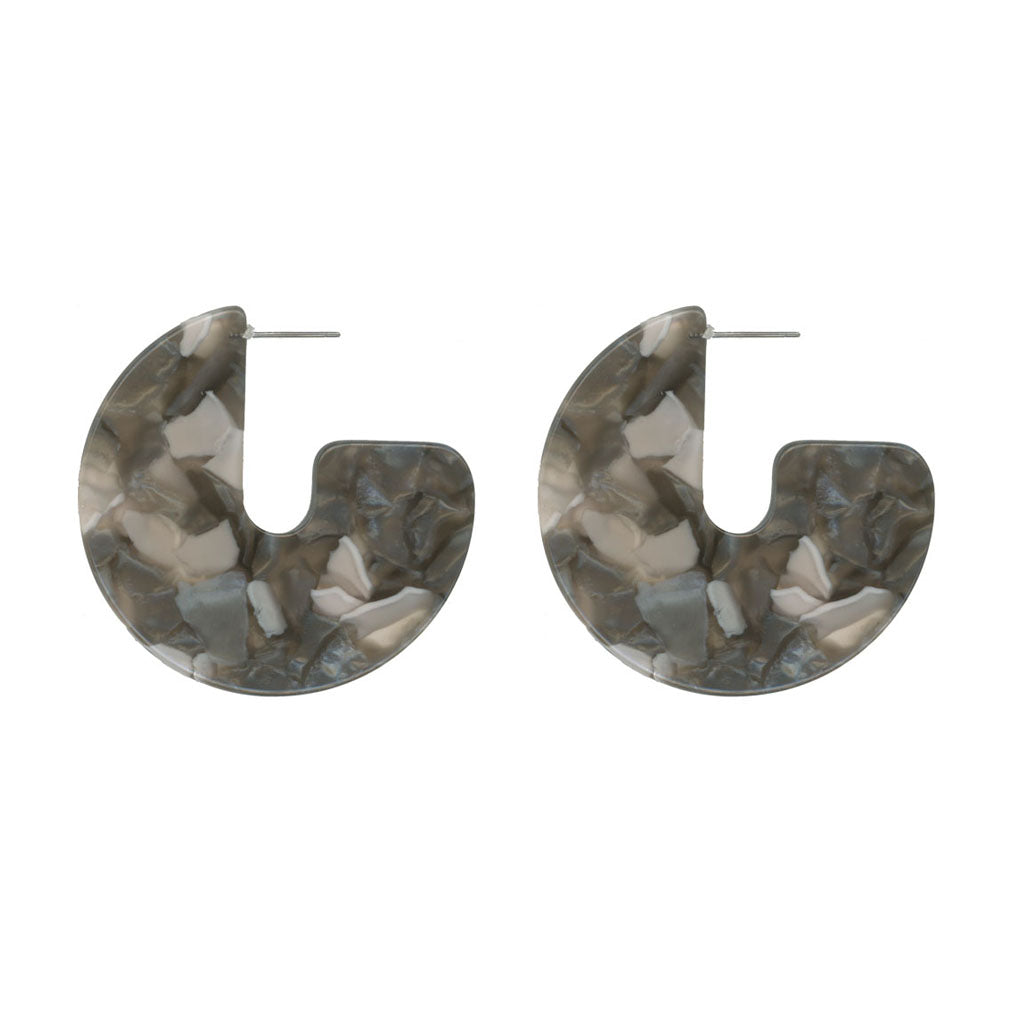 Antonia Cut Out Resin Earrings - Grey