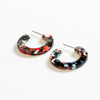 Hortensia Tiny Cut Out Hoop Earrings - Black/Multi