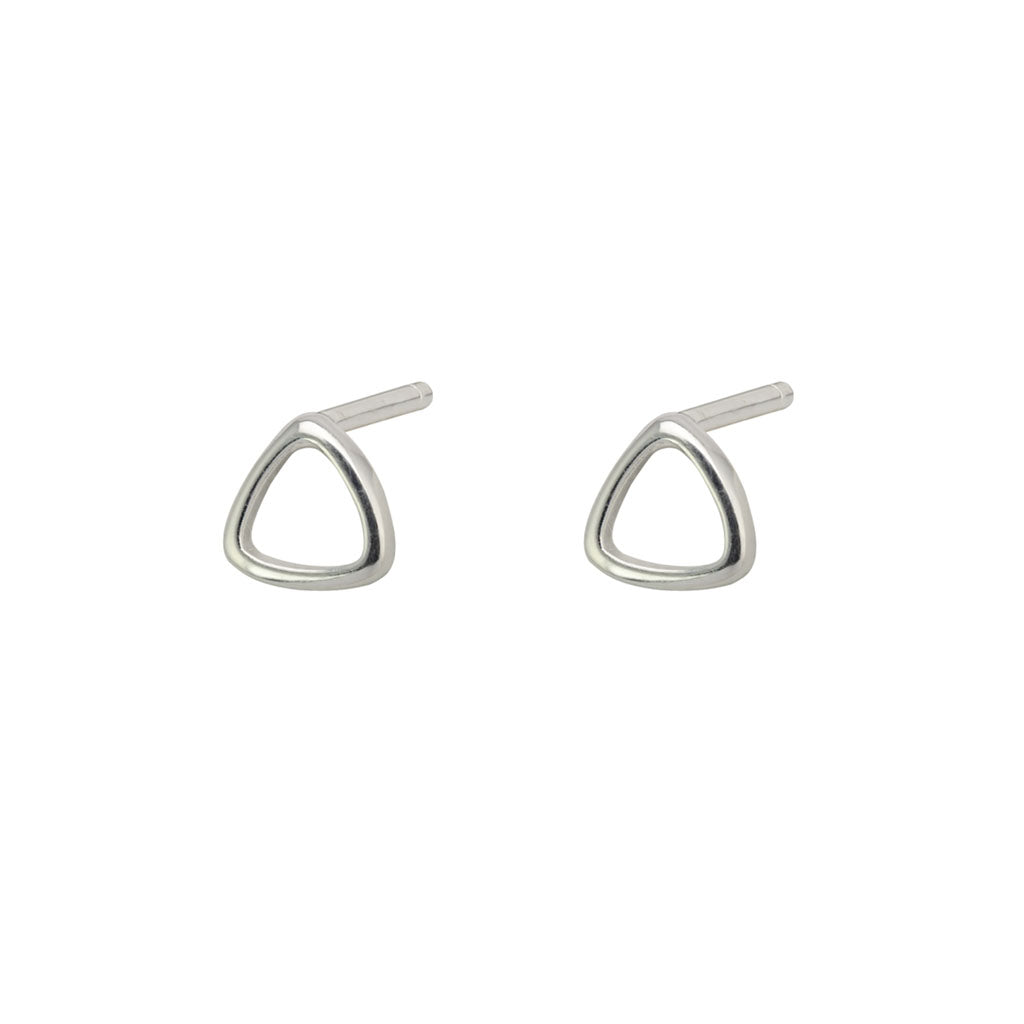 Silver Curved Open Triangle Studs
