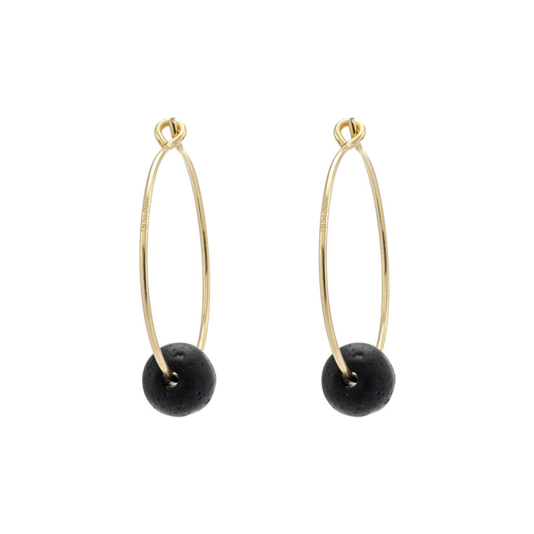 Black Sea Glass Gold Hoop Earrings