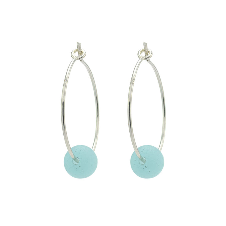 Pacific Blue Sea Glass Silver Hoop Earrings
