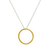 Gold Misshapen Hoop Necklace on Silver Chain