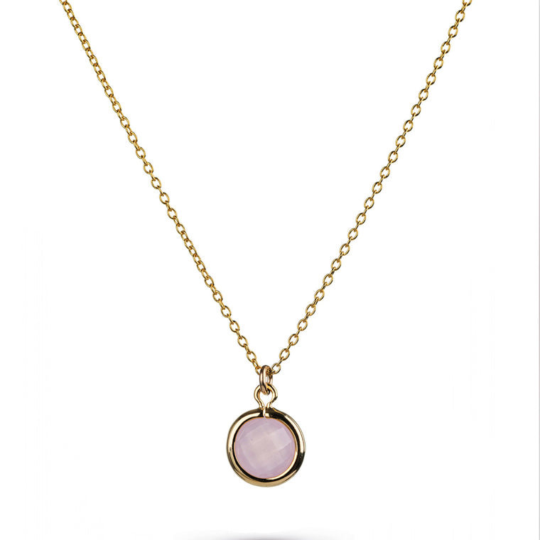 Pink Glass Charm Gold Necklace
