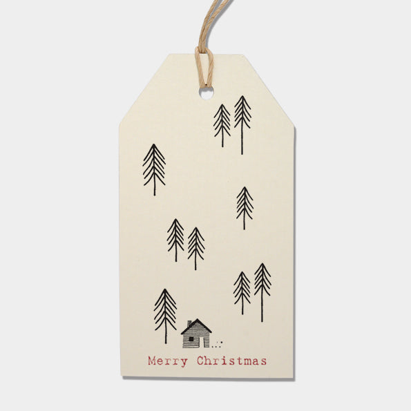 Gift Tags - Cream Fir Trees & House