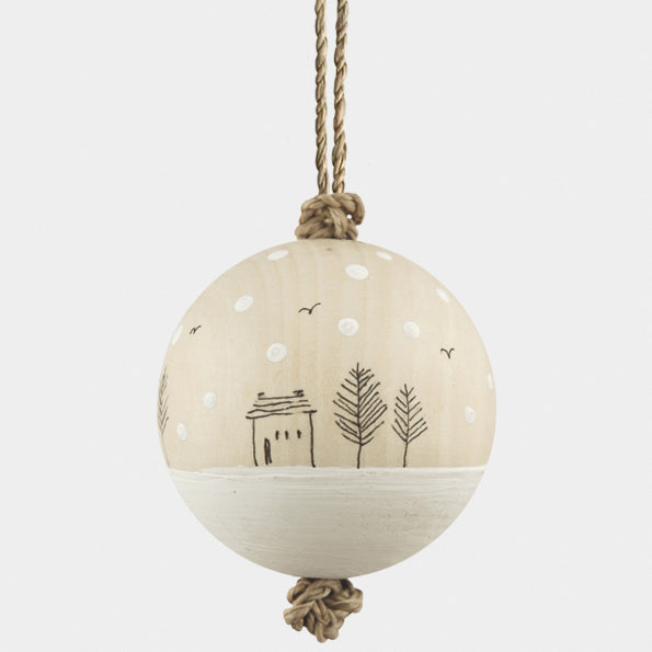 Wood Bauble - Snowy Houses