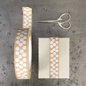 Wide Brown Tape - White Dots