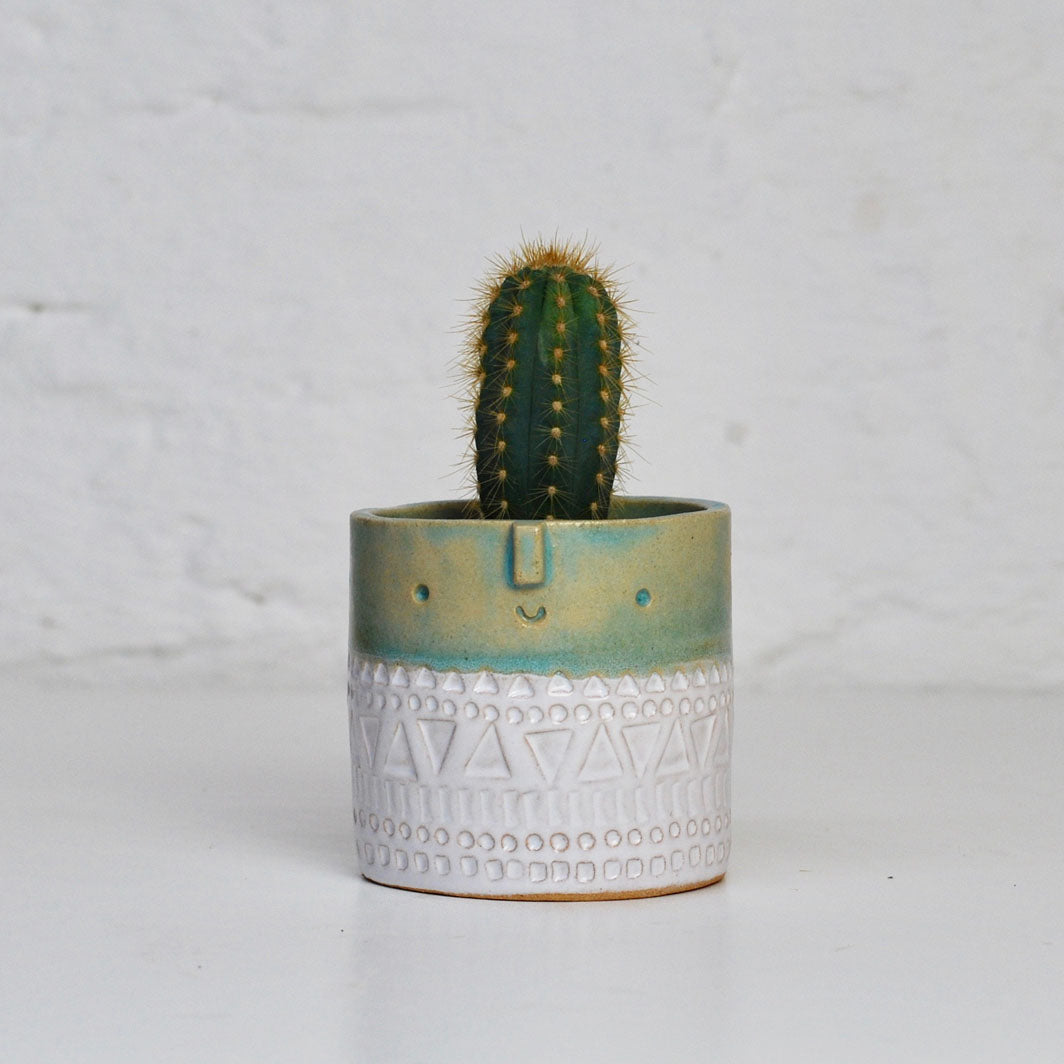 Medium Plant Pot - Turquoise Green & White Stamped